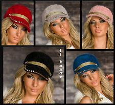 cappello visiera misto angora con borchie/strass/corde dorate 5 col.taglia unica