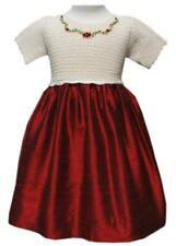Gorgeous Girls Hand Crocheted Christmas Party Dress Maroon Taffeta Skirt 17396