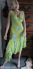 Kleid Partykleid gelb grün Gr. 36 Seide  Extravaganz Nobel verspielt