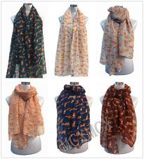 Women Ladies Country Animals Foxes Pattern Print Shawl FashionScarf Warp Stole
