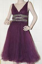 $5000 New Monique Lhuillier Purple PLUM Sequined Tulle Crystals Dress Size 6