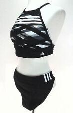NWT ADIDAS Original Crop Bikini 2 Piece Black/Gray SWIMSUIT 3 stripes 3ABF096 *