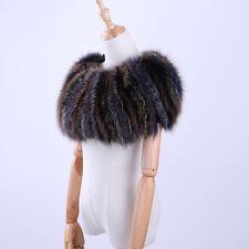 Real Fox Fur Striped Elastic Plus Women's Scarf Cape Pashmina Fur Wrap Shawl