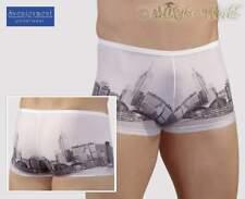 S-Sexy effektvolle knappe Skyline Print Pants scharfes Herren Dessous weiß-grau