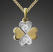 ECHT GOLD 🍀 Zirkonia Kleeblatt Glücksklee Anhänger bicolor,  Kette optional