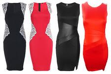 Womens Celebrity Bodycon PU Insert Applique Midi Dress Wedding Party Prom Dress