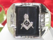 TK8X027PB MENS SIGNET  RING STAINLESS STEEL MASONIC SIMULATED DIAMOND GEN ONYX