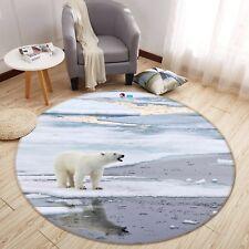 3D Polar Bear 7 Non Slip Rug Mat Room Mat Round Quality Elegant Photo Carpet Us