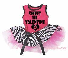 Sweet LIL Valentine Heart Hot Pink Top Zebra Skirt Cat Pet Dog Puppy Dress Bow