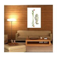 Tableaux toile déco rectangle verticale fleur et galet 1984142