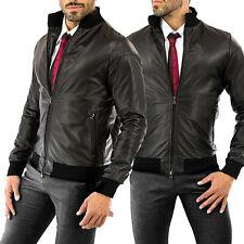 ★Giacca Giubbotto Uomo in di PELLE 100%★ Men Leather Jacket Veste Homme Cuir 34p