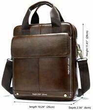 Retro Men'Genuine Cow Leather  Briefcase Shoulder Bag Messenger Handbag Purse S