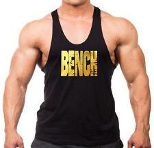 Men's Gold Foil Grunge Bench Stringer Tank Top Shirt Workout Beast Gym Lift Tee
