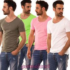 T-shirt maglia maglietta UOMO GIROCOLLO cotone colori FLUO fluorescenti CC-222