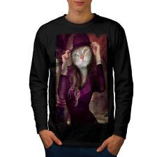 Kitty Girl Cute Face Cat Men Long Manche T-shirt New | wellcoda