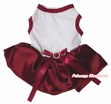 Xmas Plain White Top Raspberry Wine Red Satin Tutu Pet Dog Dress Puppy Clothes