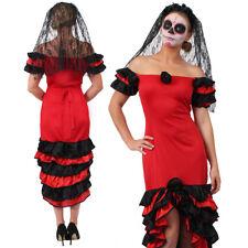 LADIES RUMBA DRESS VEIL SPANISH DAY OF THE DEAD COSTUME HALLOWEEN FANCY DRESS