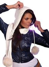 Pawonex Damen Mädchen Wintermütze Winter Kapuze Schal mit Wolle Bommel aus Fell