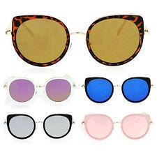 Color Plano SA106 Redondo Ojo de Gato para Mujer Espejados Retro Anteojos  de Sol 7449a0f53b