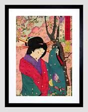 Cultural Japón Geisha Vestido chikanobu Negro enmarcado Abstracto Arte Impresión B12X5722