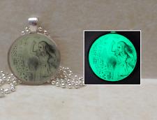 GLOW IN THE DARK Alice in Wonderland Vintage Illustration Pendant Charm Necklace