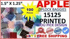 15125 APPLE BAGGIES 1.5 x 1.25 mini ZIPPERSEAL PRINTED DESIGN ziplock bags 100CT