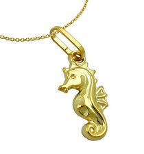 375 ECHT GOLD *** Seepferdchen Seepferd Anhänger 14 mm, Kette optional