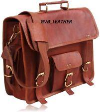Mens Real Distressed Vintage Leather Satchel Messenger Laptop Portfolio Case Bag