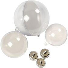 Árbol de Navidad Bolas dos parte Rellenable plástico 50, 60 y 80 mm 5 Pack & Percha