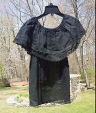 Manta Campesina Mexican Blouse Top Shirt Black Cotton Tiers Ruffled Off Shoulder