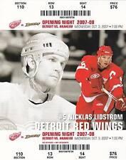 2007 RED WINGS NHL HOCKEY SEASON OPENER TICKET - NICKLOS LIDSTROM