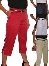 Ladies Smart Crop Capri Trousers Matt Satin Evening Easy Fit With Belt NEW 8-22