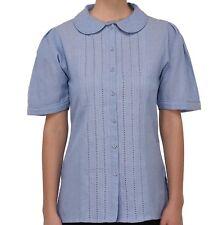 Plus Size Chambray Cotton Peter Pan Collar Blouse | Cotton Lane