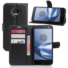 Premium Leather Wallet Case Cover For Motorola Moto Z & Z Play