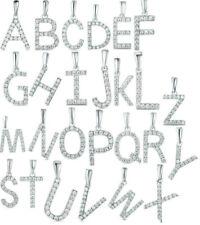 925 Sterling Silver Initial Alphabet Letter A to Z A-Z CZ Charm Necklace Pendant