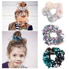 New Girls Kids Sequin Mermaid Scrunchie Elastic Rope Clips Hair Band Accessories