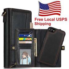 Credit Card Holder Slot Zipper Wallet Pocket Wrist Strap Case for iPhone XS 2018