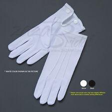White & Black Nylon Formal Men's Gloves with Snap Closure - Various Sizes