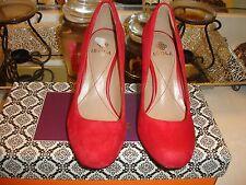 Isola Elaine Red Suede Pump Heel Wedding Prom Bridal 6 6.5 7 $98 NWB New