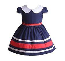 Bebé Niña Manga Corta Verano Vestido de fiesta en Azul Red 3 6 9 12 18 meses