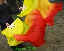1 Pair(L+R) 100% Real Silk Belly Dance Fan Veil Yellow/ Orange/ Red (1.5 m 1.8m)