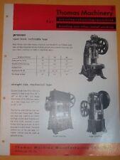 Vtg Thomas Machine Co Catalog~Presses~Punch/Shear~Metal