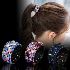 Women's Rhinestone Crystal Plastic Ponytail Hair Rings Buckle Holder Hair Clips