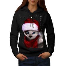 Wellcoda Christmas Cat Womens Hoodie, Hat Casual Hooded Sweatshirt