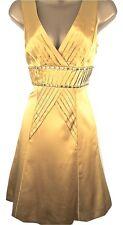 KAREN MILLEN Mustard Yellow SILK Studded Dress Size 10