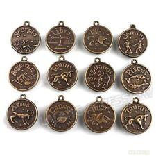 1 x Antique Bronze Alloy 12 Indian/Western Zodiac Charm Coin Pendants (141280)