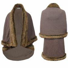 Para mujer ribete de piel sintética capa Abrigo Poncho Señoras Chaqueta de punto superior abierto larga caliente de invierno