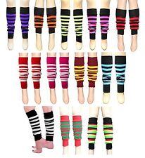 New 80's Women Stripe Leg Warmers Winter Accessory Stripe Knee Socks Fancy Dress
