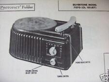 SILVERTONE 7070 PHONOGRAPH RADIO COMBO PHOTOFACT