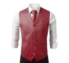 NEW Mens Burgundy Dress Vest and Neck Tie Set, All sizes(S~3XL)
